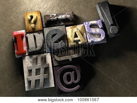 The Word Ideas Made From Colorful Grunge Textured Wooden Printing Blocks.