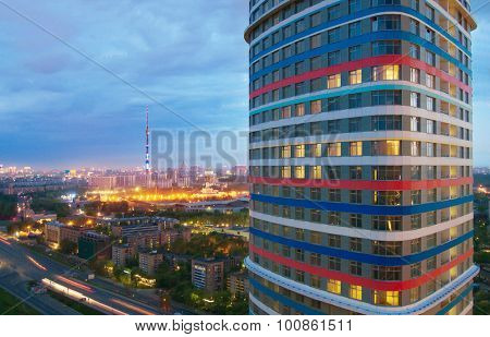 MOSCOW - MAY 12, 2015: Residential building Tricolor consists of 3 buildings, office center and stylobate part