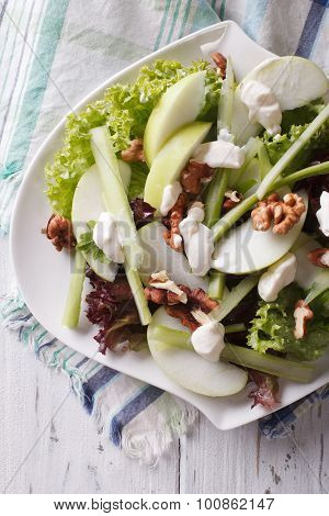 Waldorf Salad With Apples, Celery And Walnuts Close-up. Vertical Top View