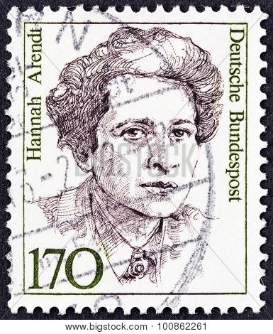 GERMANY - CIRCA 1986: A stamp printed in Germany shows sociologist Hannah Arendt