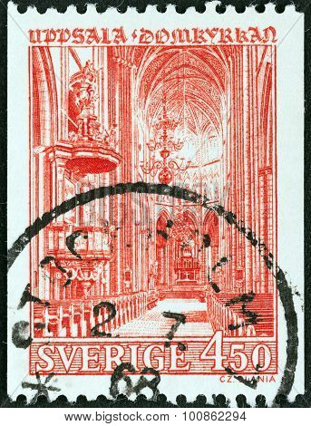 SWEDEN - CIRCA 1966: A stamp printed in Sweden shows Uppsala Cathedral interior