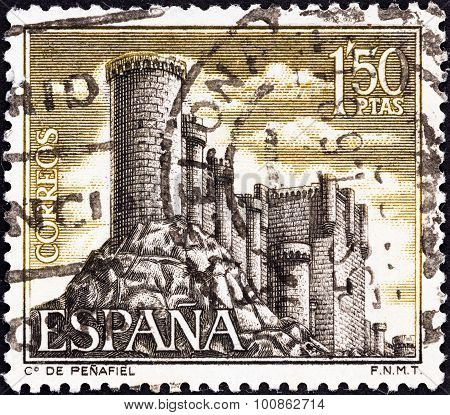 SPAIN - CIRCA 1968: A stamp printed in Spain shows Penafiel castle