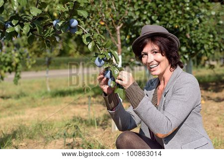 Healthy Fashionable Young Woman Showing Off Plums
