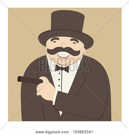man laughing and smoking a cigar