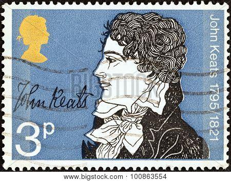 UNITED KINGDOM - CIRCA 1971: Stamp shows John Keats (150th death anniversary)