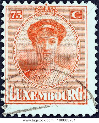 LUXEMBOURG - CIRCA 1921: A stamp printed in Luxembourg shows Grand Duchess Charlotte