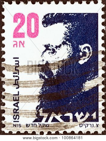 ISRAEL - CIRCA 1986: A stamp printed in Israel shows Dr. Theodor Herzl (1860-1904)