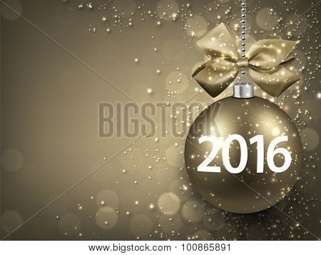 2016 New year golden background with christmas bauble. Vector illustration with place for text.