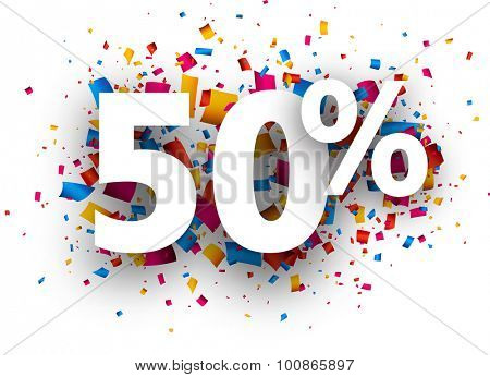 50% sale sign with colour confetti. Vector paper illustration.