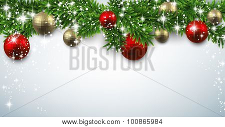 Winter banner with spruce twigs and baubles. Christmas vector illustration with place for text.