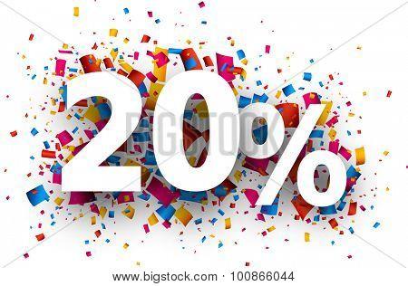 20% sale sign with colour confetti. Vector paper illustration.