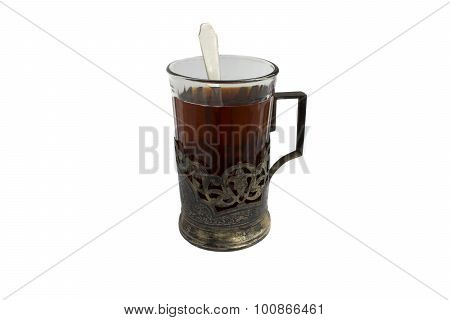 A Cup Of Tea In Silver Cup Holder