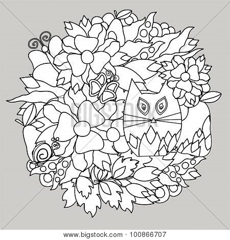 stock vector doodle cartoon cat and flower