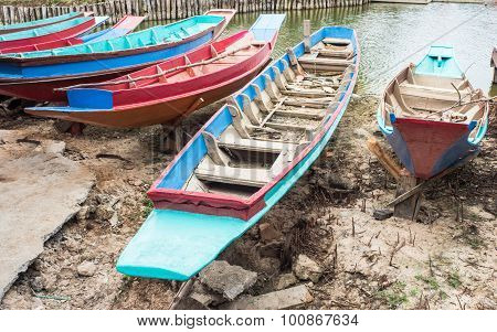 Colorful boats in canal for travel in river.