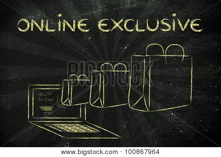 Products Sold Exclusively Online (illustration Of Bags Coming Out Of A Laptop)