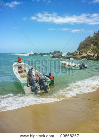 Boats At Cabo San Juan Beach In Colombia
