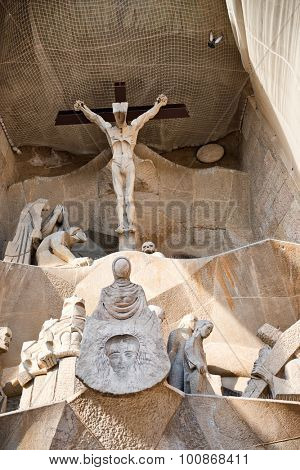 BARCELONA, SPAIN - MAY 02: Detail of Crucifixion Scene and Passion Facade, Sagrada Familia Sacred Family Cathedral, Barcelona, Spain. May 02, 2015.
