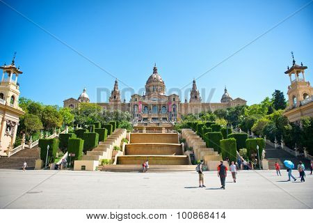 BARCELONA, SPAIN - MAY 02: Exterior of Palau Nacional on Montjuic Hill in Barcelona, Spain - on Sunny Day with Clear Blue Sky - a Popular Tourist Attraction. May 02, 2015.