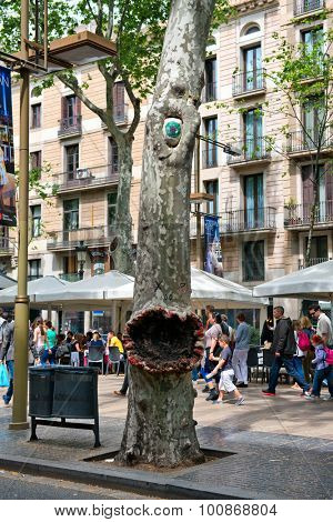 BARCELONA, SPAIN - MAY 02: Monster Tree with Painted Eye and Open Mouth Along La Rambla Street in Barcelona, Spain. May 02, 2015.