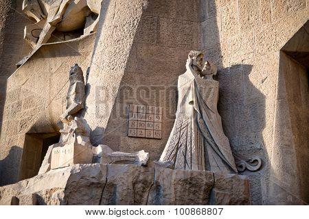 BARCELONA, SPAIN - MAY 02: Detail of Passion Facade of Sacred Family Cathedral, Sagrada Familia, Barcelona, Spain. May 02, 2015.