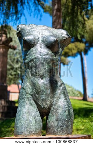 BARCELONA, SPAIN - MAY 02: Torso statue of a naked female with a close up frontal view of her bare breasts in Poble Espanyol, Barcelona, Spain. May 02, 2015.