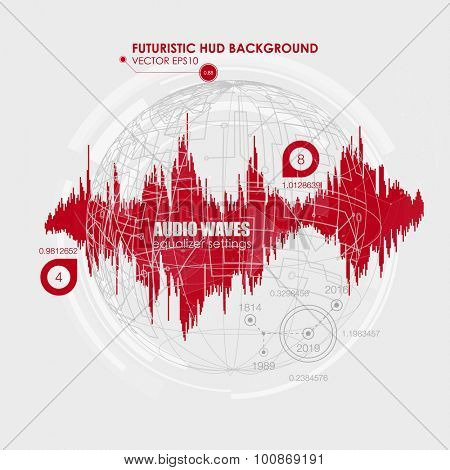 Set sound waves . Audio equalizer technology, pulse musical. Cover for the album or music track. Vector illustration eps10. Abstract future, user interface HUD. Analysis of the sound of the voice