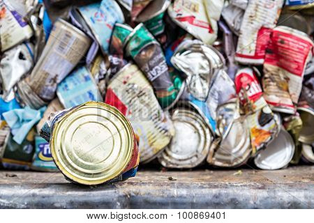 Close Up Compressed Aluminum Cans For Recycle