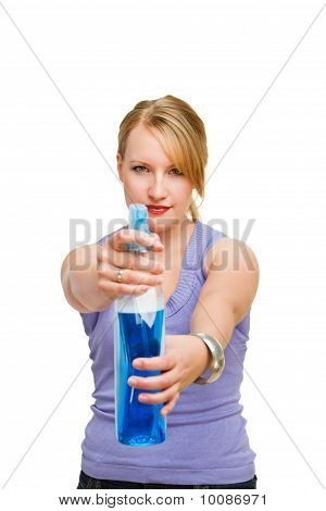 Cute Woman Spraying Disinfectant At You