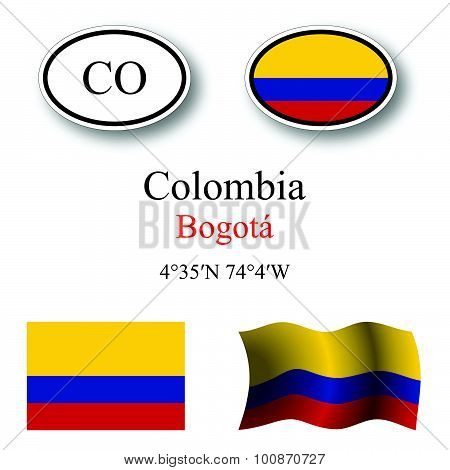 Colombia Icons Set
