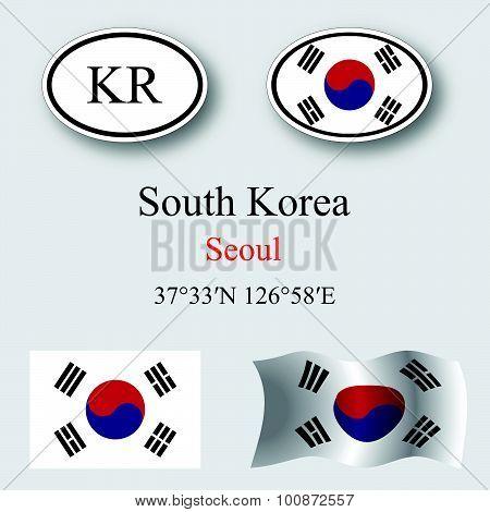 South Korea Icons Set