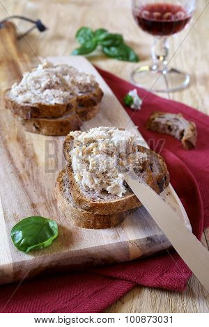 French Rillettes, Meat Spread And Wineglass