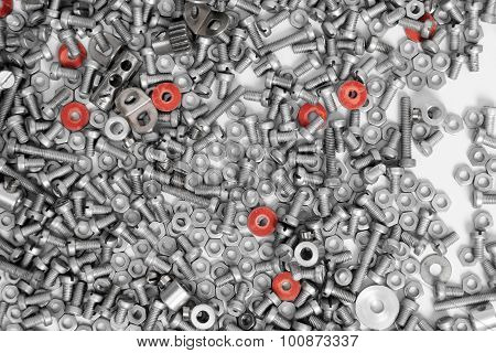 Nuts and bolts as industrial background