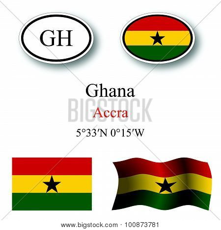 Ghana Icons Set