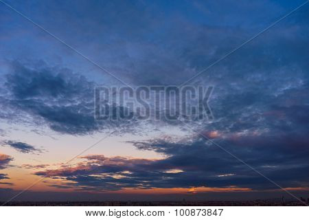 Clouds In Twilight Time Over The Cityscape