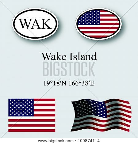 Wake Island Icons Set