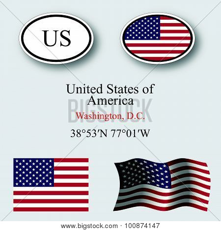 United States Of America Icons Set