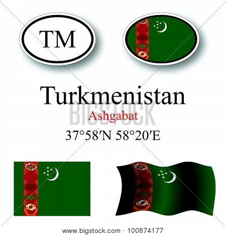 Turkmenistan Icons Set