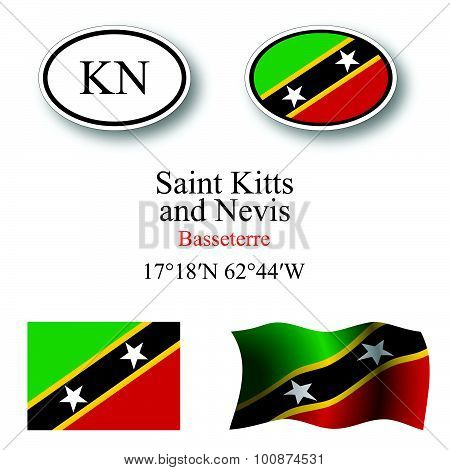 Saint Kitts And Nevis Icons Set