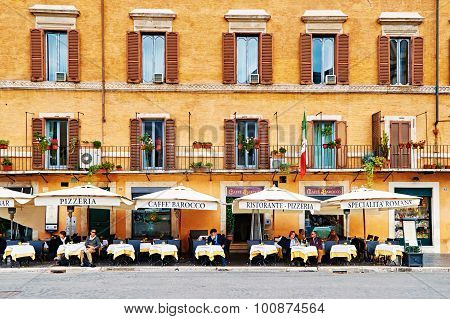 Rome, Italy - October 29: Guests Sit On The Beautifull Restaurant Terrace In Piazza Navona In Rome,