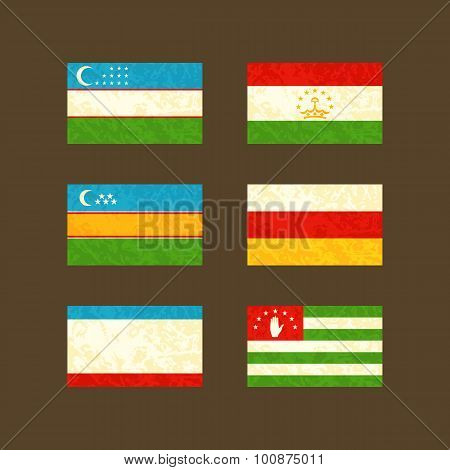 Flags Of Uzbekistan, Tajikistan, Karakalpakstan, South Ossetia, Crimea And Abkhazia