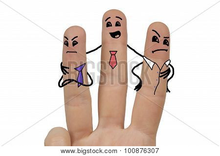 Funny Stickmen Drawn On Fingers