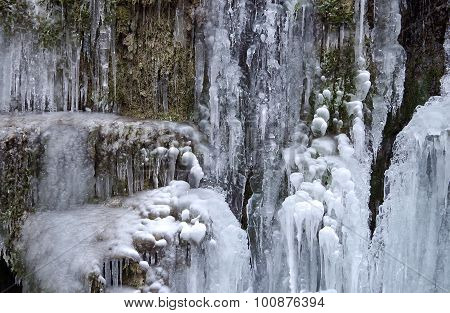 Frozen Waterfall In The National Park