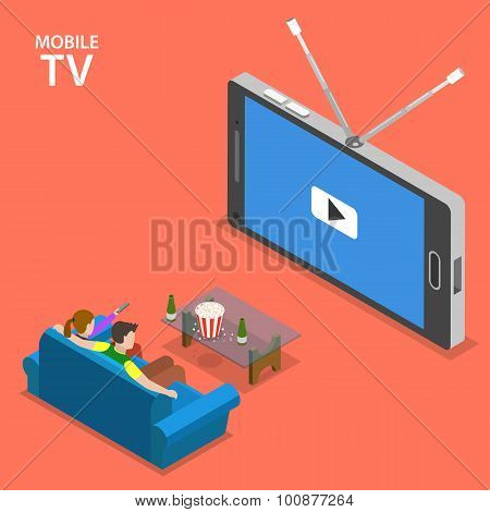Mobile TV isometric flat vector illustration