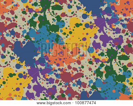 Colorful Vector Seamless Background With Spots And Blotches.