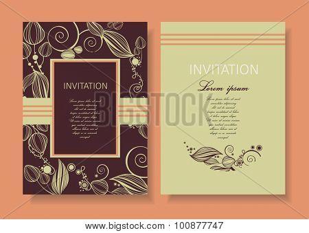 Floral  vintage invitation