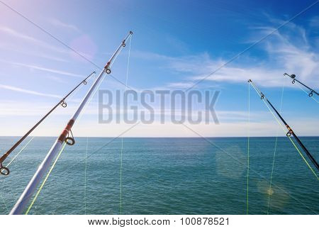 Fishing On Deep Ocean Under Blue Sky