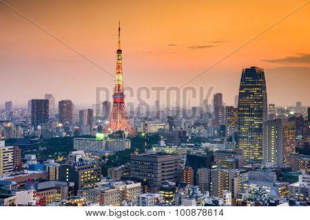Tokyo, Japan at dusk.