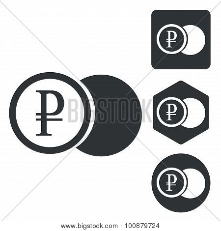 Rouble coin icon set, monochrome
