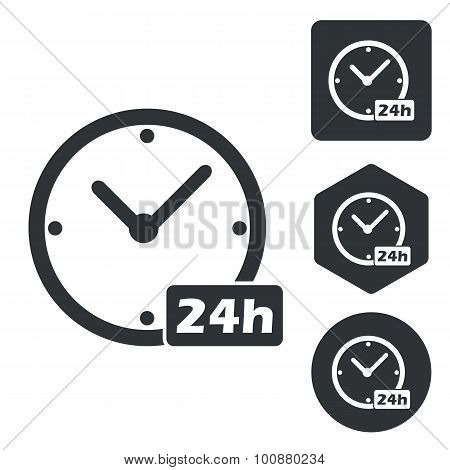 24 hours icon set, monochrome