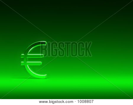 Euro Sign On Green Background